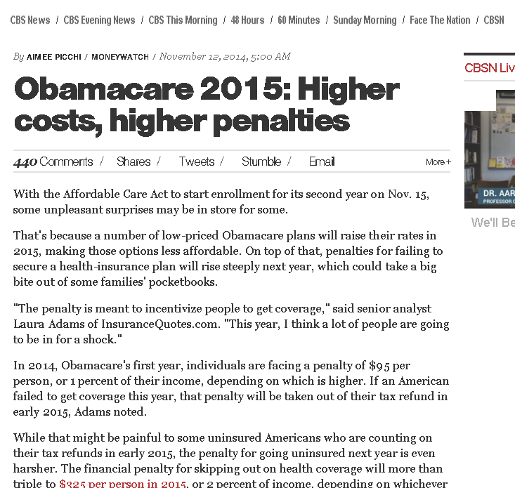 Obamacare 2015_ Higher costs, higher penalties - CBS News